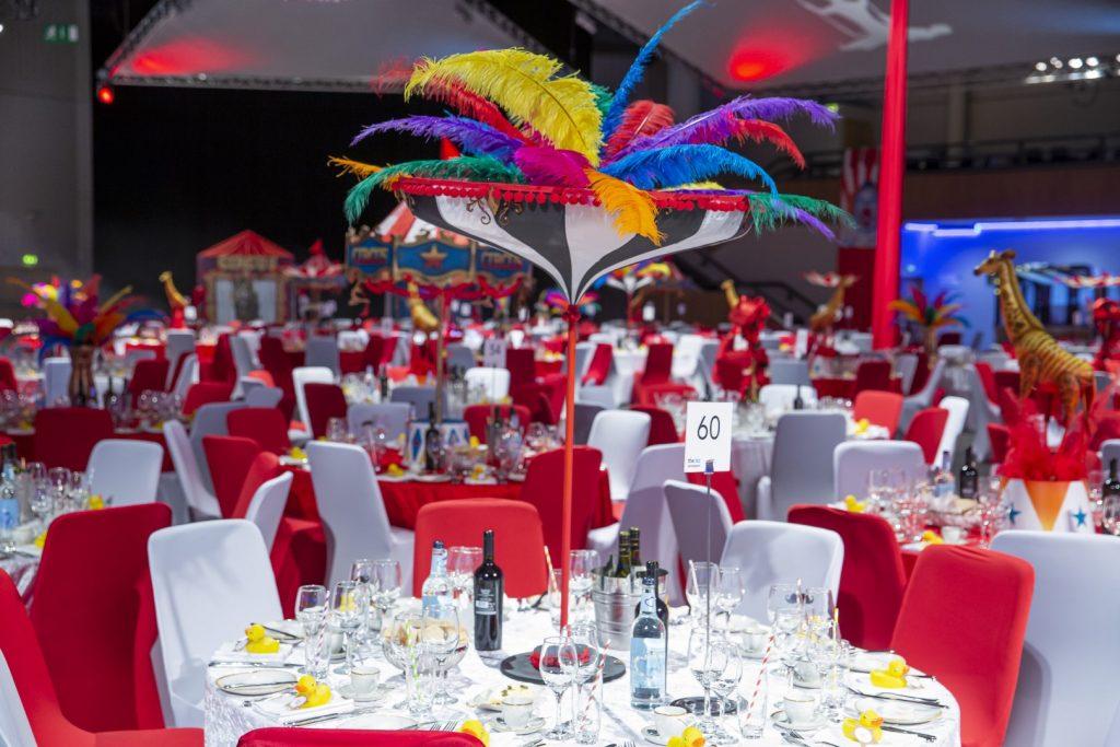 Circus Theme Feather Table Centres