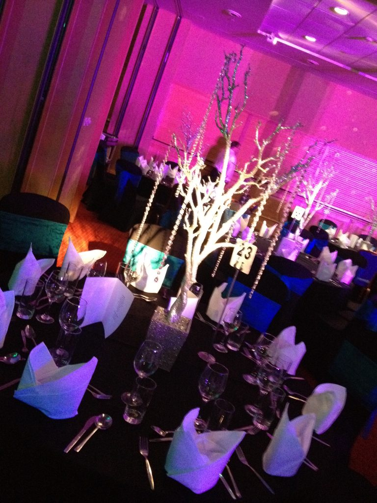 Silver Glitter Tree Table Centres